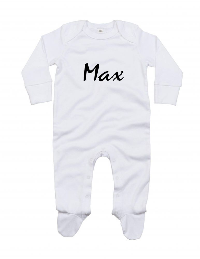 Baby organic envelope sleepsuit with mitts. Baby's name on the front